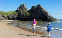 Family outing at Three Cliffs Bay, Gower © City & County of Swansea 2014