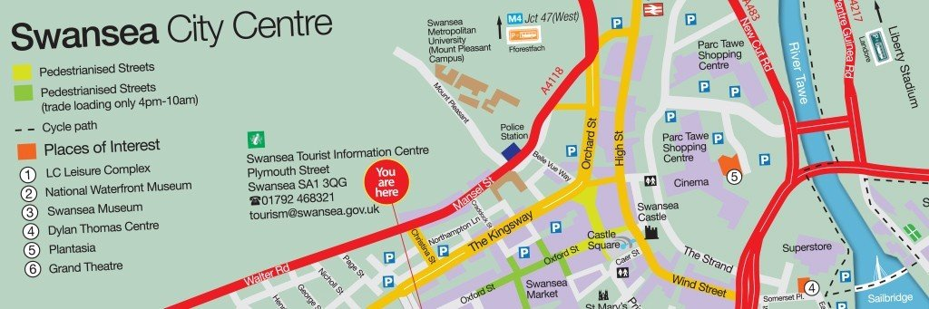 Download the Swansea City Centre Map