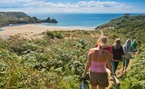 Walking to Three Cliffs Bay, Gower