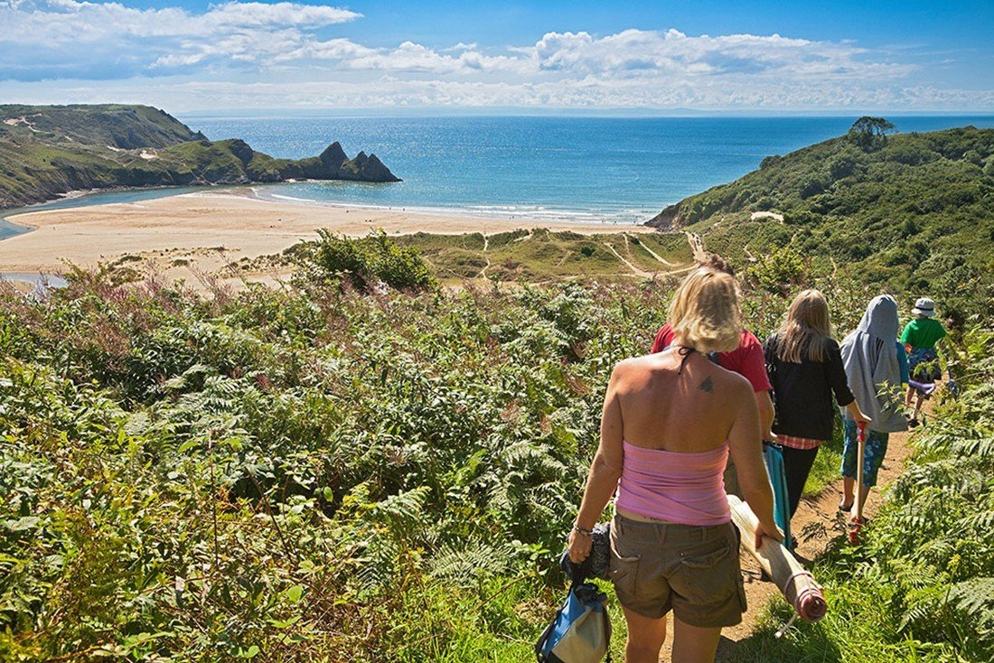 Walking to Three Cliffs Bay, Gower