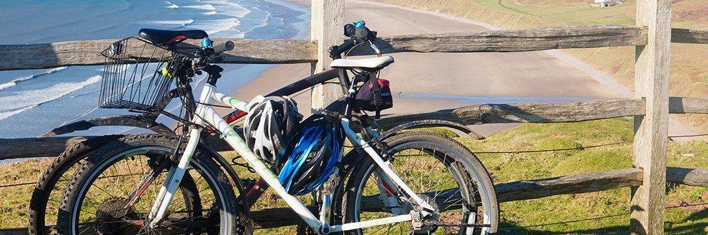 Cycling - bikes at Rhossili Bay
