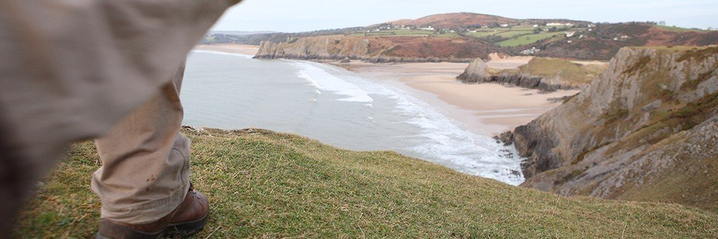 Walking at Three Cliffs Bay, Gower