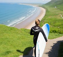 Surfing Swansea Bay