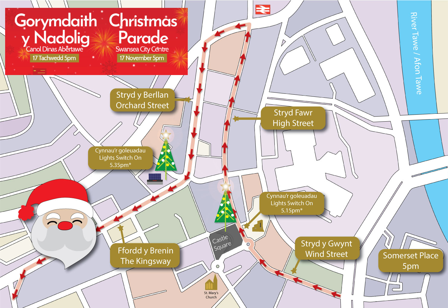 Map of the route of the Swansea Christmas Parade