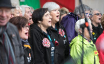 Photo of a welsh choir singing at Croeso Swansea